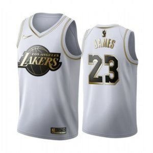 Los Angeles Lakers LeBron James White Gold Jersey